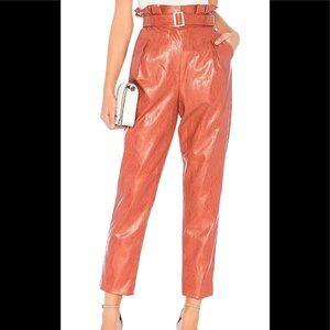 Revolve Majorelle terracotta brown faux leather pants,belt, pleated waistline XS
